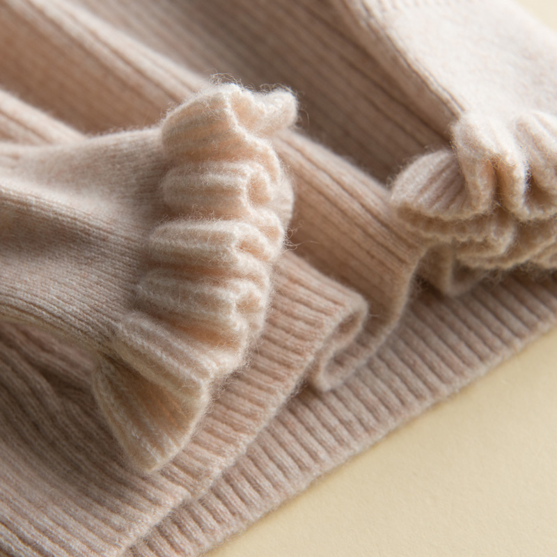 Áo len cashmere nửa cổ cao, áo thun nữ, nấm gỗ, tay áo hoa, áo len mỏng ngắn, áo len dệt kim cashmere nguyên chất 100% - Áo len cổ chữ V