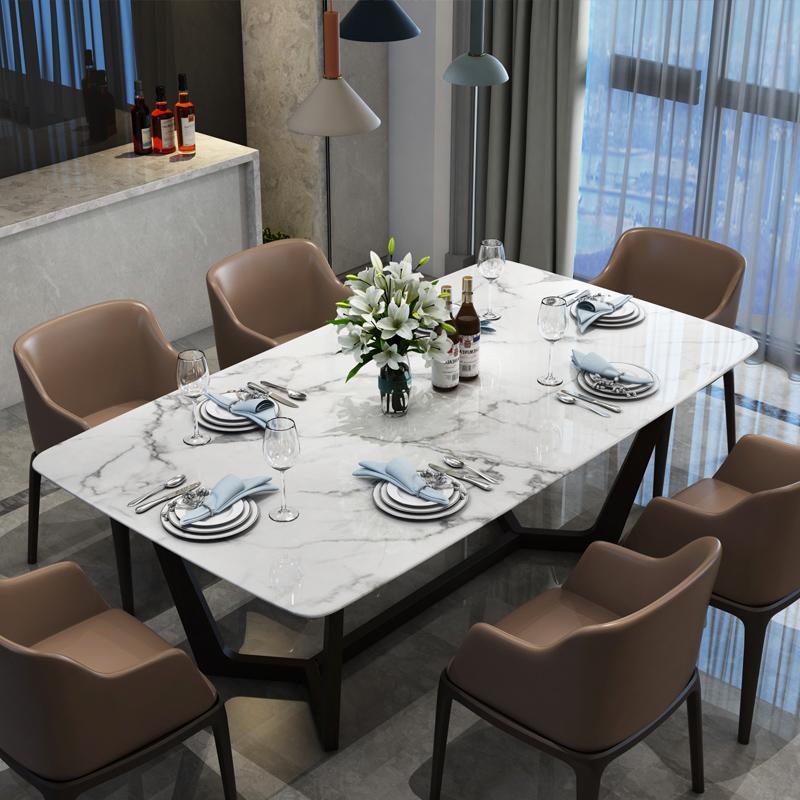 北歐餐臺大理石餐桌椅組合6人4家用輕奢不銹鋼長方形現代簡約實木