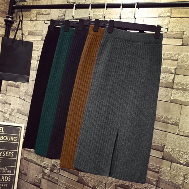 2021春季时尚韩版新款女装高腰开叉一步裙针织包臀中长款半身裙潮