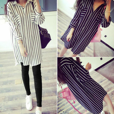Spring women's wholesale Korean version of the new casual student vertical stripes shirt fashion loose large size long shirt