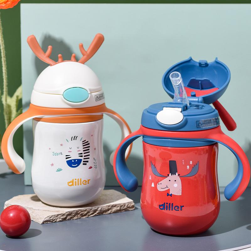 儿童保温杯带吸管两用鸭嘴杯宝宝学饮杯幼儿园316便携手柄喝水杯