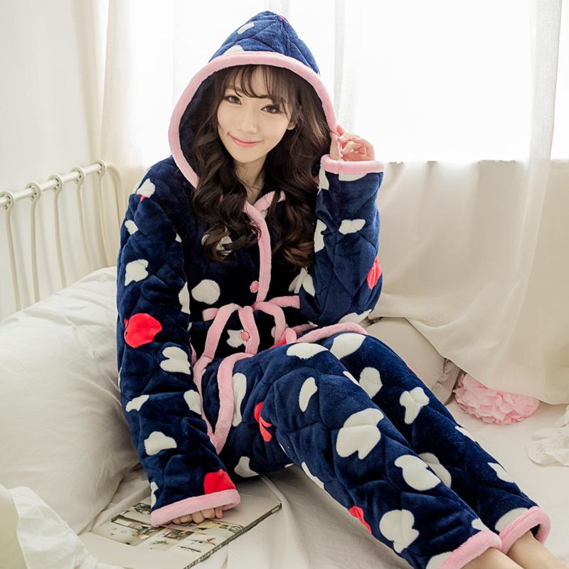 冬季夹棉睡衣男士三层加厚加大码珊瑚绒法兰绒睡衣套装家居服棉袄