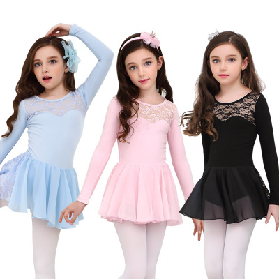 Children's ballet dress girls practice clothes children's long-sleeved grading clothing jumpsuit tutu