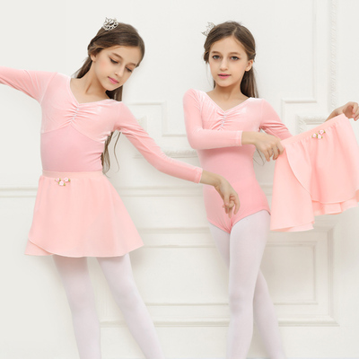 Children's long-sleeved velvet ballet dress children's dance one-piece exercise clothes