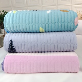 Clearance processing winter thick crystal velvet bed cover quilted mat double-sided one side velvet one side cotton blanket plus velvet single piece