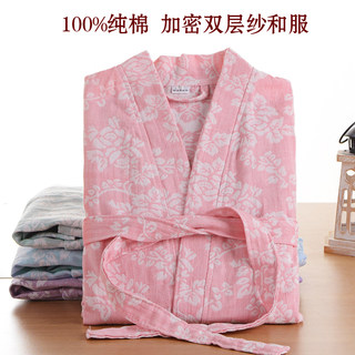 Pure cotton gauze bathrobes spring, summer and autumn encryption cotton yukata absorbent men and women Japanese style steaming beauty quick-drying bath towels