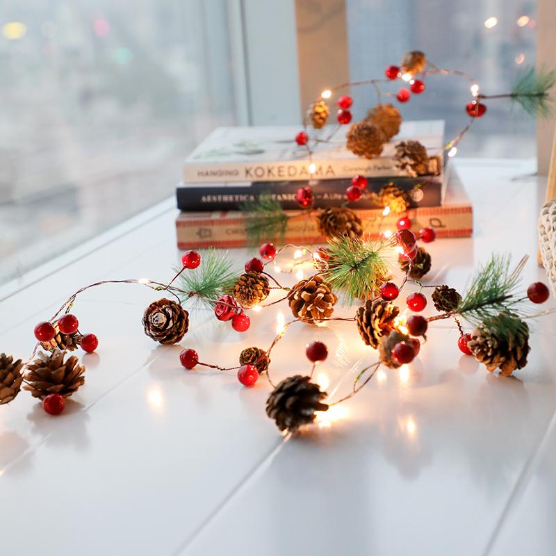 圣诞节装饰品挂灯DIY松果LED灯串手工闪灯串灯房间布置圣诞树彩灯