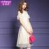 Feimengyi nữ ăn mặc mùa hè ăn mặc mới 2018 cổ áo thậm chí vai tay áo đính cườm là mỏng trong đầm ren dài 16666 Sản phẩm HOT