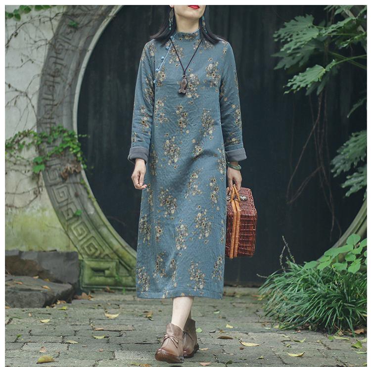 念江南棉麻禅意旗袍改良版洋装女秋冬长袖加绒加厚袍子復古裙子详细照片