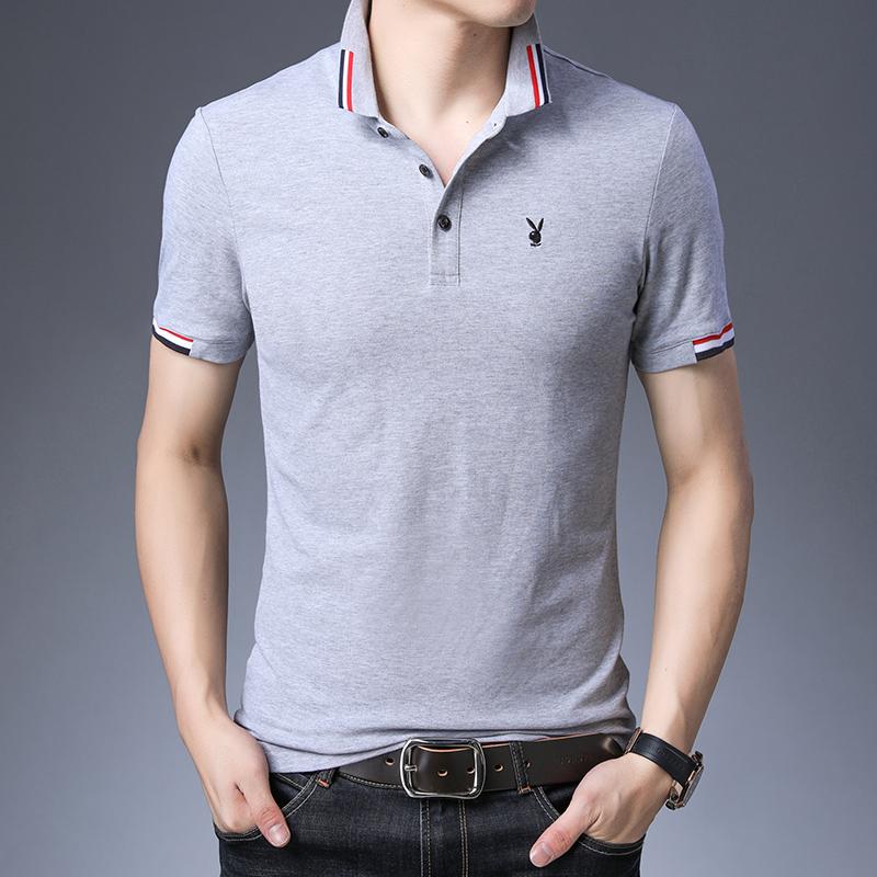 高品质冰丝棉男士短袖夏季商务休闲t恤纯棉透气翻领POLO衫