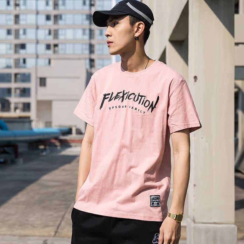 FNNKA日系情侣学生夏装T恤男棉质男士ulzzang韩版潮流刺绣短袖衫
