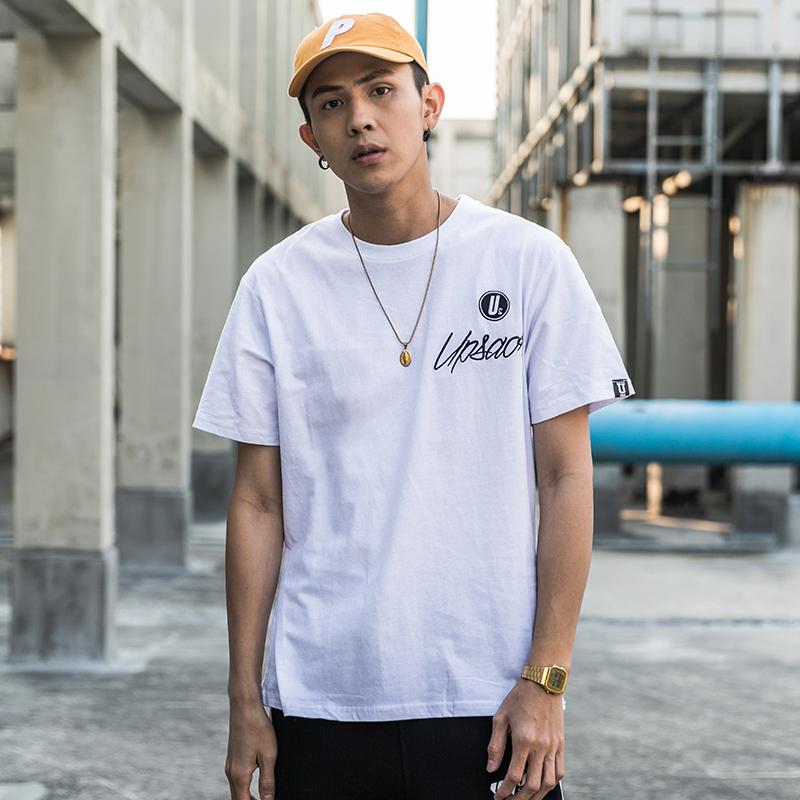 FNNKA日系简约百搭学院男t恤学生字母刺绣风短袖上衣原宿韩版t恤