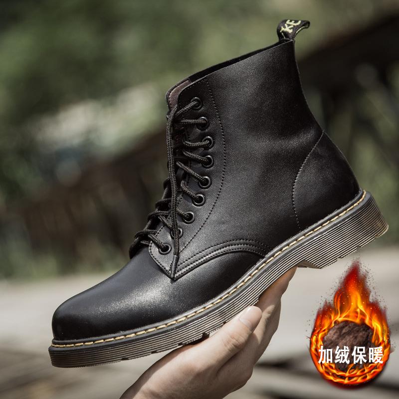 二层牛皮46 47 48特大码男式皮靴前系带工装鞋增高加绒马丁靴男鞋