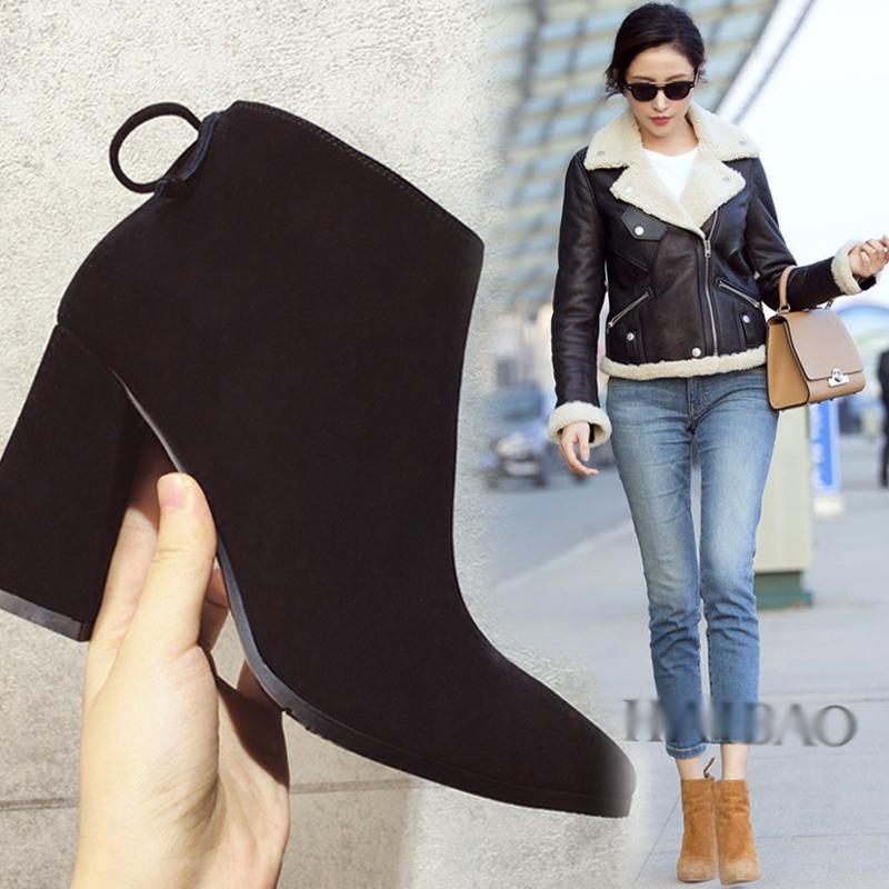 女鞋粗跟高跟鞋冬中跟加绒尖头秋季2017新款韩版百搭短靴马丁靴