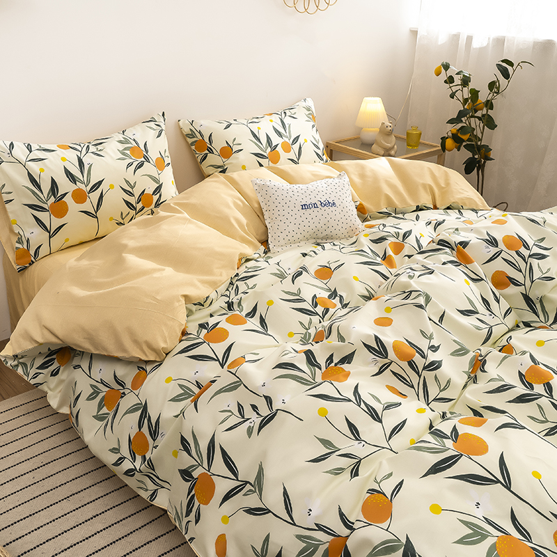 Bốn mảnh vải cotton màu đỏ tinh khiết khăn trải giường chăn ga gối giường lily dày sinh viên ký túc xá ba bộ 4 mảnh - Bộ đồ giường bốn mảnh
