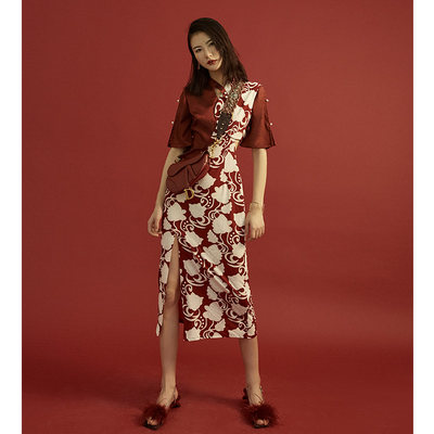 壹 贰 Custom Cheongor Young 2020 new improvement version of the girl Chinese style dress summer half full scarlet
