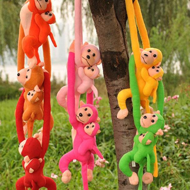 小猴子宠物猴幼猴会叫的猴子毛绒玩具母子猴公仔小猴玩偶发声娃娃