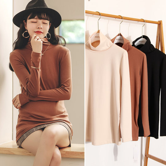 Maternity Autumn Tops Maternity Bottoming Shirts Plus Velvet Thicken Autumn and Winter Models High Collar Long Sleeve Mid-Long Winter