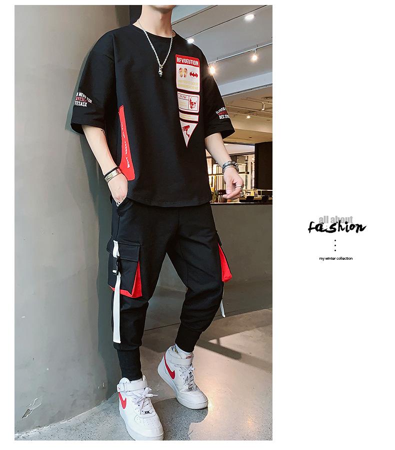 佳乐2 春夏季短袖T恤套装男潮流搭配帅气衣服一套F170TP75
