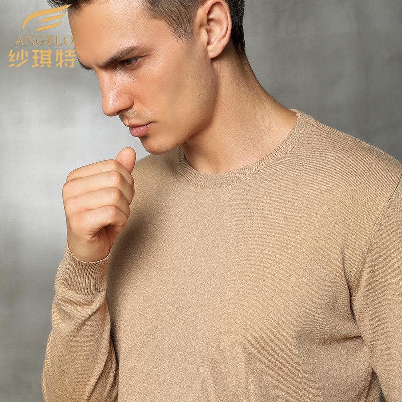 秋冬新款羊毛衫毛衣V领加厚大码圆领套头羊绒衫男士长袖宽松针织