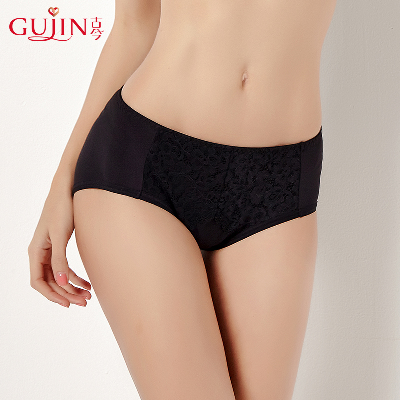 Ancient and modern lace mid-waist triangle underwear ms. new black comfortable fit pants 1H1029