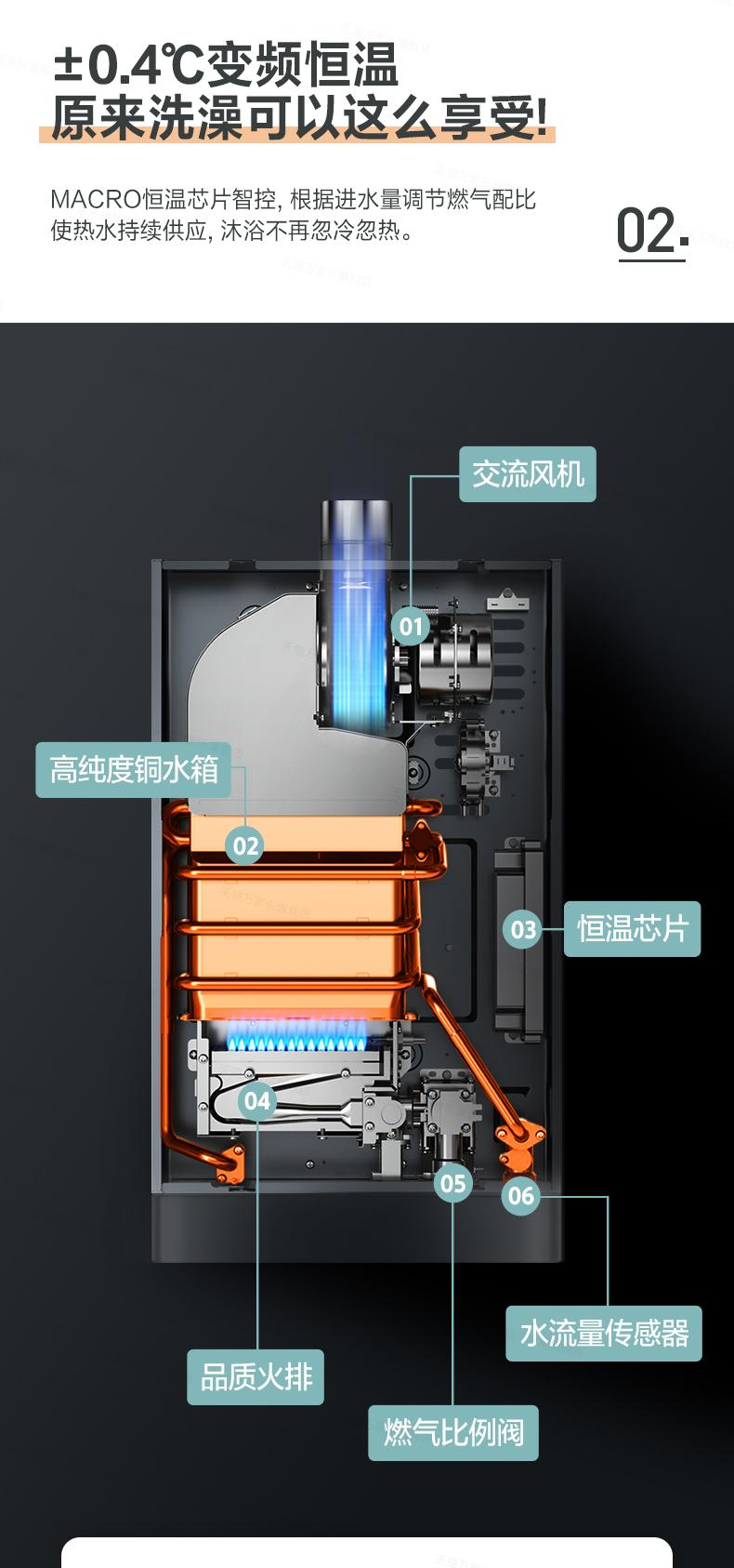 万家乐燃气热水器家用瓦斯升变频恆温强排式旗舰店详细照片