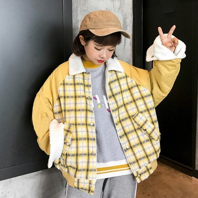 Winter women's new Korean version of the two sides wearing cotton jacket loose plaid thick lambskin short paragraph cotton jacket coat students