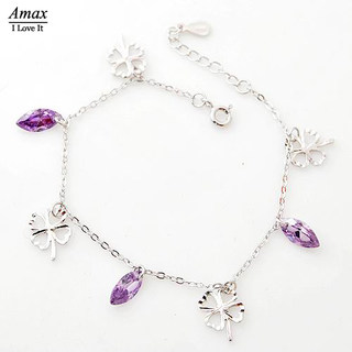 Genuine s925 silver anklets female Korean fashion style wild wind cold enough Amethyst jewelry gift Tanabata