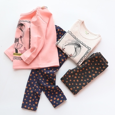 Dr. autumn and winter children's clothing children's fall clothing suit female baby cotton underwear home service sanding pajamas