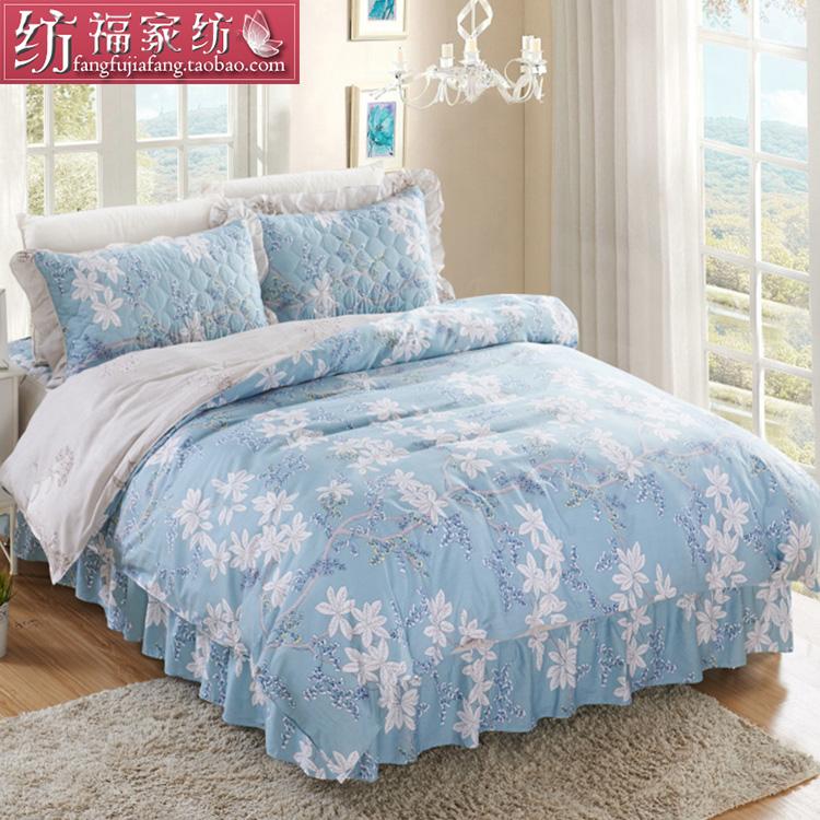夹棉床罩床裙四件套秋冬简约田园花边加棉防滑床单4件套纯棉床品