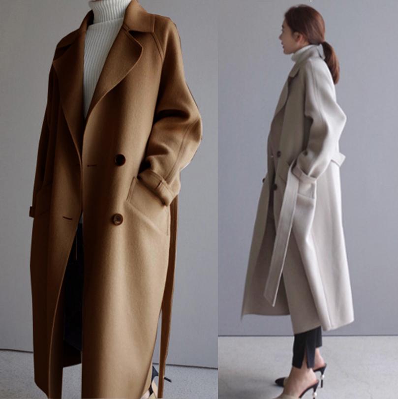 Gió Hepburn trong chiếc áo khoác len dài của phụ nữ mùa thu mỏng và mùa đông phong cách mới Hàn Quốc eo sinh viên Áo len dài - Áo len lót đôi