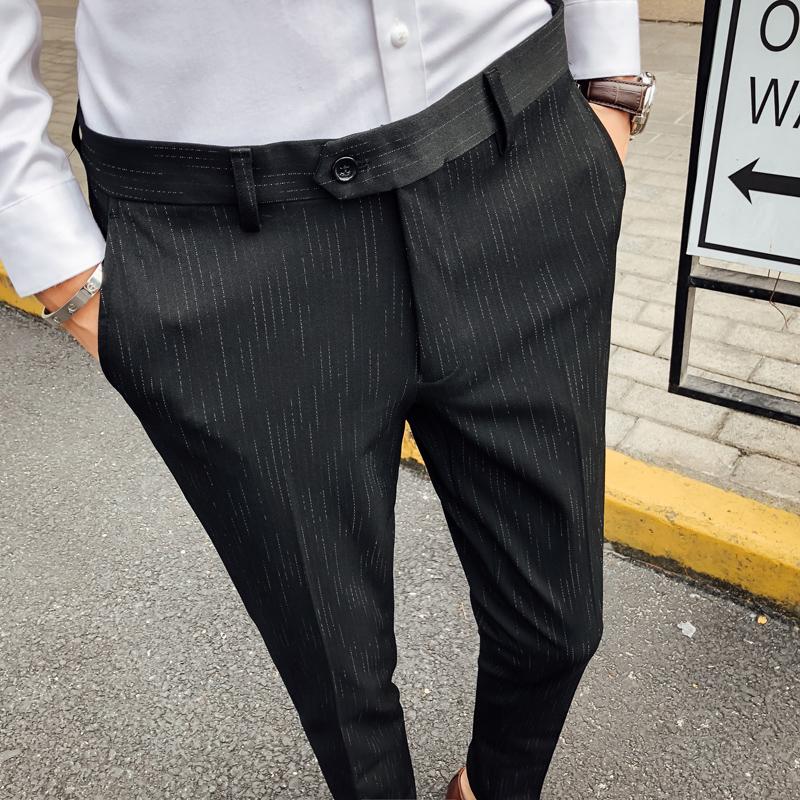 Mùa thu nam quần âu kinh doanh quần sọc thanh niên chân mỏng quần dày Anh phù hợp với quần quần - Quần