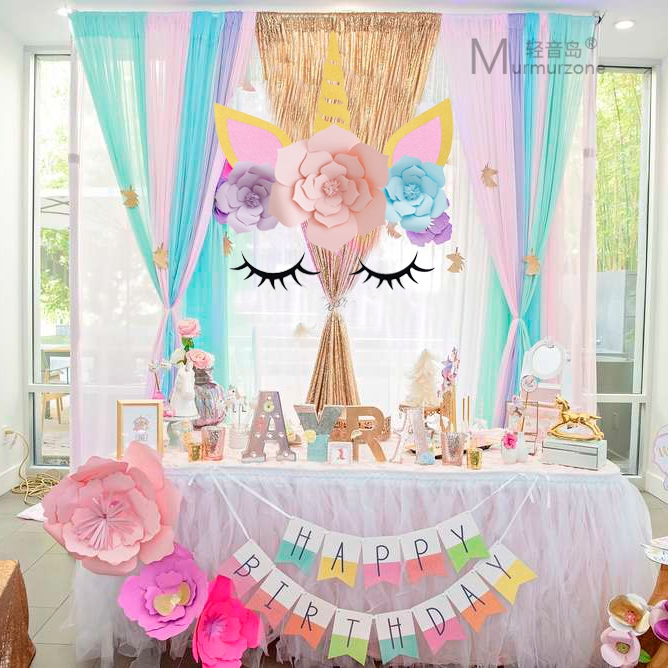 Holiday birthday decoration unicorn theme party three,dimensional flowers  background wall dress paper flower dessert table layout