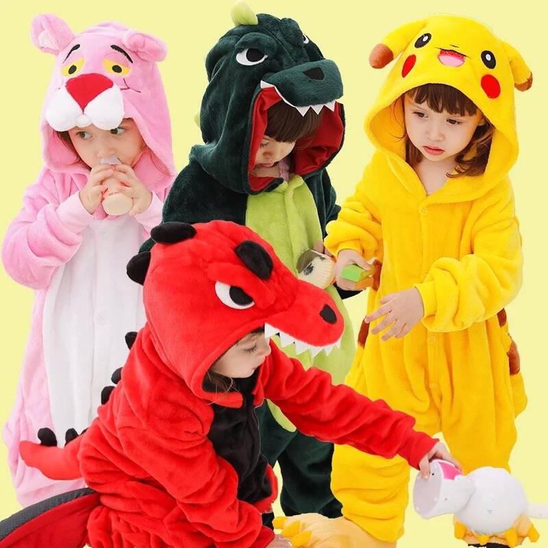 连体衣服卡通动物睡衣男孩宝宝可爱儿童法兰绒女童恐龙珊瑚加厚冬