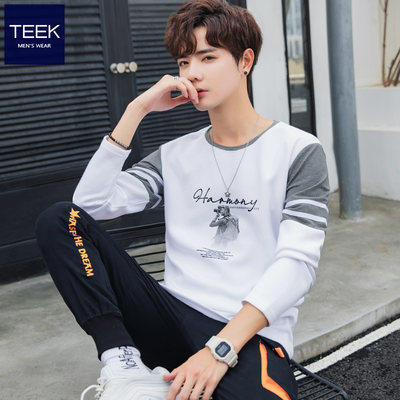 Autumn Men's long-sleeved T-shirt cotton clothes warm autumn and winter adolescents, colors, plus velvet, put on the bottom