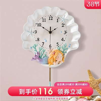 Clocks Pastoral Style Cartoon Wall Clocks Living Room Personality Home Fashion Creative European Clocks Clock Art Net Red