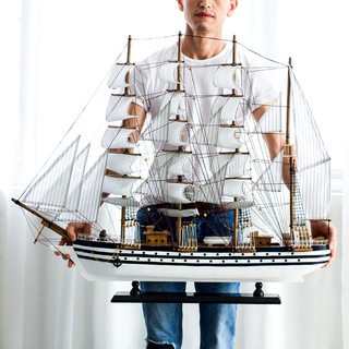 Sailing sailboat model ornaments large handmade wooden craft living room office light luxury decoration gift