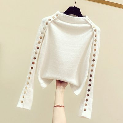2020 autumn new Korean version of the button decoration semi-high collar homage set sweater female Hong Kong flavor bottom knit shirt tide