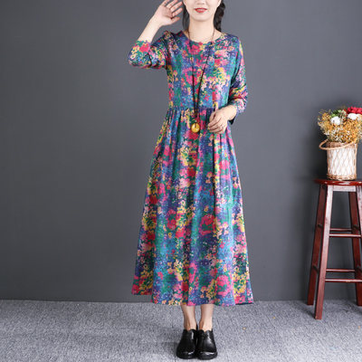 Natural small shop national wind women's long-sleeved print cotton linen dress loose long section 2019 autumn new
