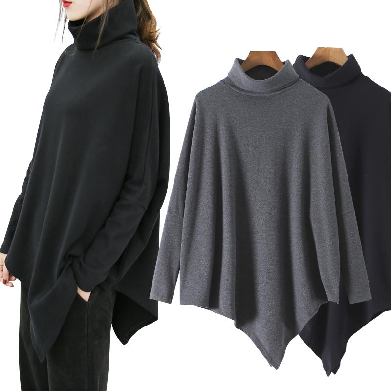 高领t恤女秋冬新款宽松大码中长款欧美风休闲蝙蝠衫不规则上衣潮