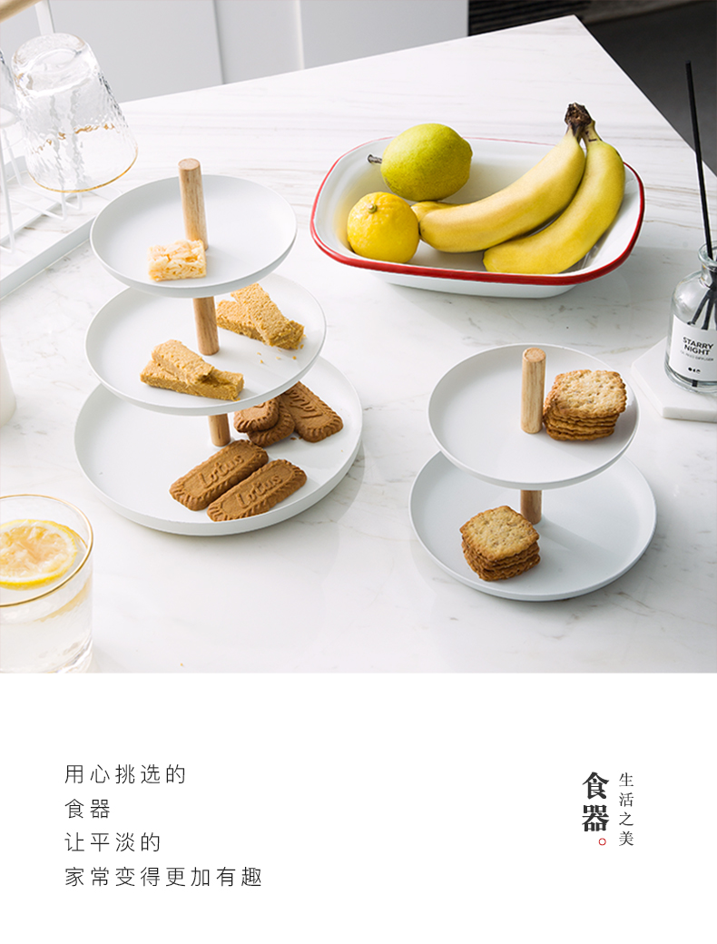 LOTOTO Japanese ceramic double snack plate of fruit bowl tea cake pan creative 'lads' Mags' including nuts bottom sitting room