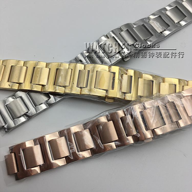 全钢实心表带钢带表链钟表链子男女款蝴蝶扣钢带手表钟表配件