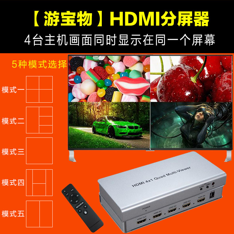 On the HDMI split screen super clear 4 into 1 dnf underground city open  4-Way display a 4-screen splitter
