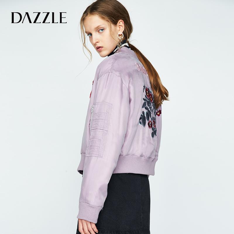 DAZZLE地素 秋冬新款 趣味刺繡棒球領短款棉服外套女 2A3H2021X