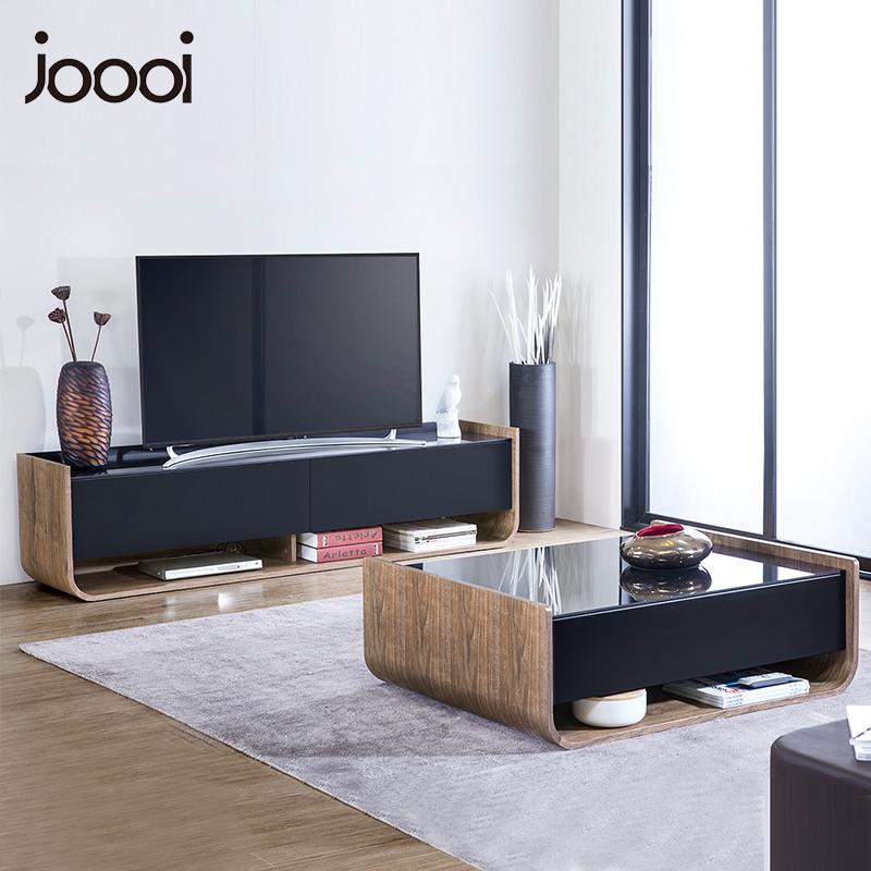 U型電視柜茶幾組合鋼化玻璃北歐現代簡約小戶型簡易客廳家具套裝