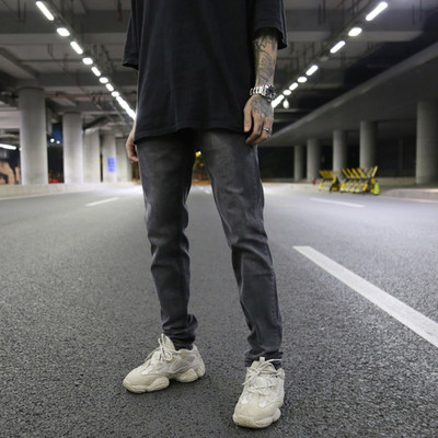 Kanye Europe and the United States High Street Wind Heavy Wash Foundation Color Slim Slavless Pupil Jeans INS Tide Jeans