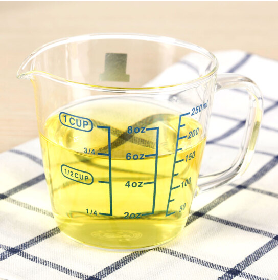 Heat-resistant glass measuring cup Milk Cup with the glass baking  measurement with scale 250ml test bar measuring cup