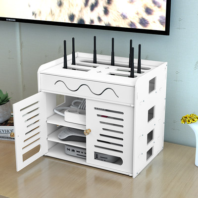 Router storage box WiFi storage box wire storage plug-in storage box free hole set top box