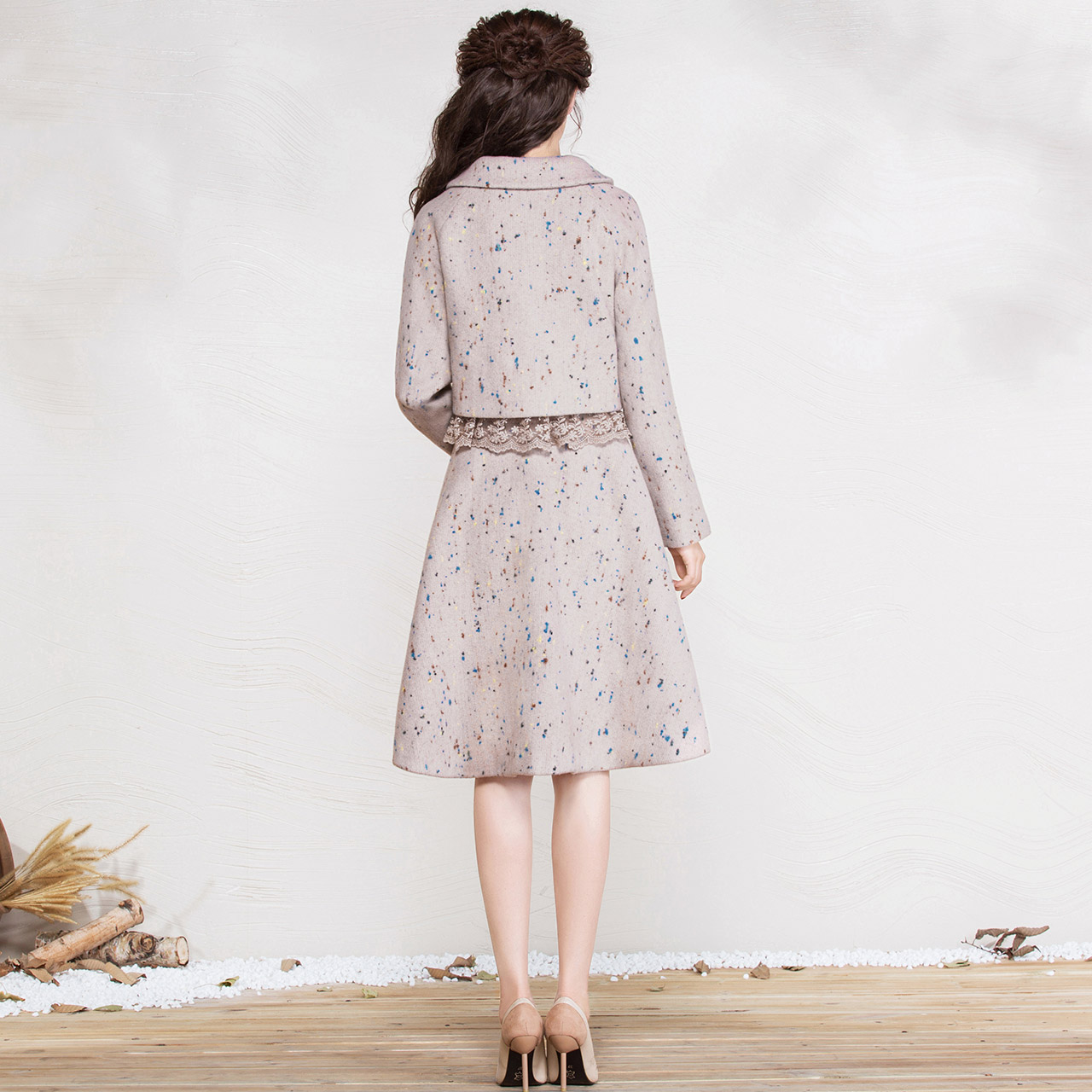 苏白系列-烟花烫GLP2017冬新款女装毛呢外套+半身裙套装 依璇可璇