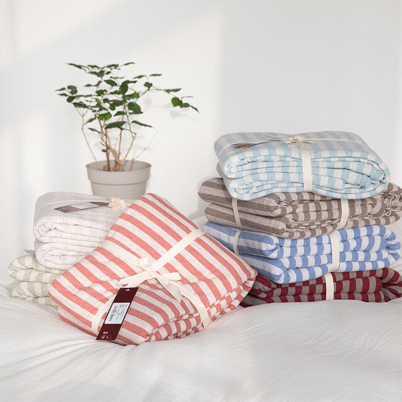 Chăn bông đơn mảnh khỏa thân ngủ Tianzhu bông dệt kim sọc AB bề mặt đơn đôi Nhật Bản phong cách chăn bông chăn - Quilt Covers